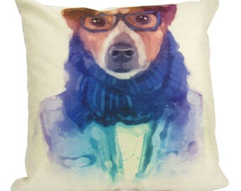 Hipster Dog Pillow Cover