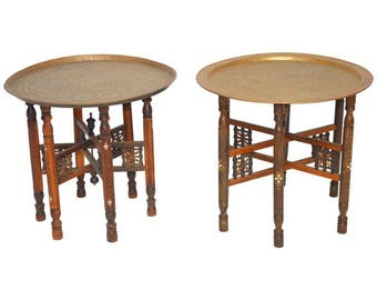 Pair of Moroccan Brass Tray and Wood Drink Tables