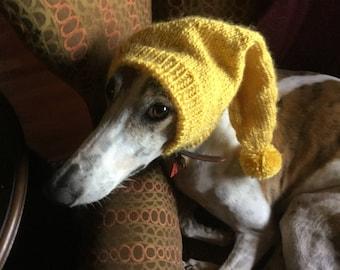 Greyhound hat with snood-Yellow Sheepish