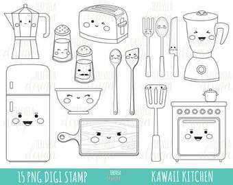 Kawaii Kitchen tools clipart cookpot clipart Toaster