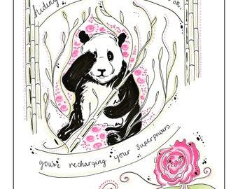 Positive Panda Print. Wall art, illustration/design.