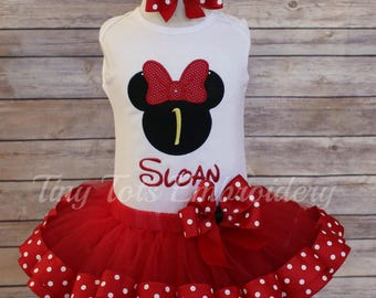 Minnie Mouse Birthday Outfit ~ Minnie Tutu Outfit ~ Includes Top, Ribbon Trim Tutu and Hairbow ~ Customize In Any Colors of Your Choice!