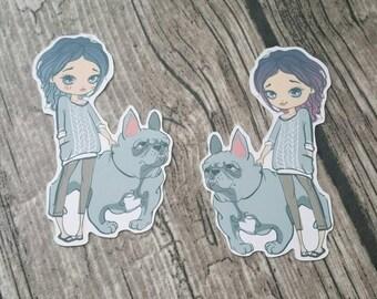 Girls Best Friend   Bulldog Die Cut   Planner Decoration   Girl Die Cuts   Cute Die Cut   Fashion Girl  TN   Travelers Journal