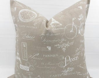 SALE Ecru  Pillow cover. Ecru & White. Paris Print Pillow cover. Stamp.  Country Style Pillow Case. 1 piece.  cotton. Select your size