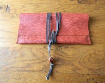 Orange clutch leather lace closure