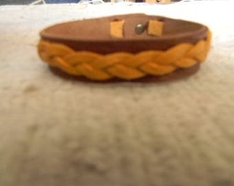 Bracelet leather dark brown / mustard yellow