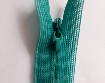 TURQUOISE covered nylon 3 indivisible vintage zip size 3 (018 YKK) zipper молния cerniera rack fermeture éclair cipzár רוכסן