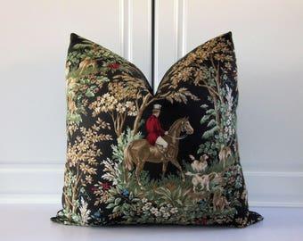 Ralph Lauren-Jet Black-Equestrian Decorative Pillow Cover-18x18, 20x20