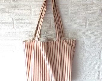 Canvas Ticking Tote Bag, Canvas Bag, Shoppers Resuable, Grocery Bag, Eco Friendly