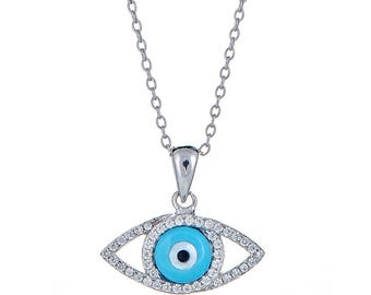 Light Blue Evil Eye Pendant  with Rolo Chain .925 Sterling Silver CZ Set