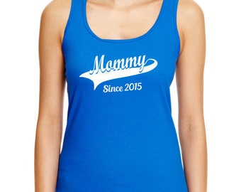 Personalized Mommy Racerback Tank, Women's New Baby Mom Wife Birthday Mother's Day Gift Ideas For Her Custom Summer Beach Blue Red Purple