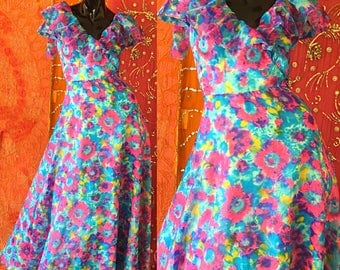 Psychedelic Summer Dress 70s Boho Floral Maxi Dress 1970s Pastel Festival Dress