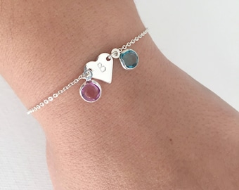 Birthstone bracelet, initial bracelet, personalised bracelet, birthday gift, gift for women, gift for mum, personalised gift, christmas gift