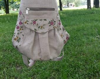 Backpack, mini backpack, women backpack, handmade backpack,linen backpack,city backpack