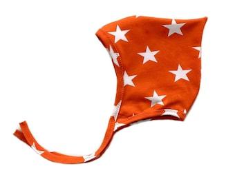PIXIE HAT -  baby hat Fire Red / Orange Stars - Organic jersey knit Gender Neutral Baby hat - Newborn hat - Toddler hat - Summer Hat