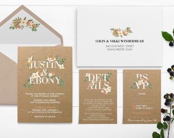 Floral Wedding Invitation - Kraft Wedding Invite - Kraft Paper - Rustic Wedding Invitation Template - Kraft Card - Floral Invitation Suite