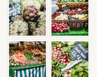 """Paris, France Travel Photography, """"French Market Produce"""", Set of 4 Square Fine Art Prints, Gallery Wall, Home Decor, Gift"""