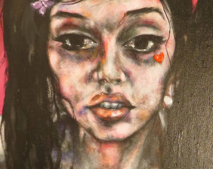 "Amy"" acrylic portrait painting"