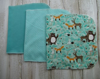 Ready to ship. Baby burp cloths Set of 3. Baby gift. Gender neutral burp cloths.