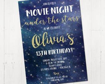 Movie Night Invitation, Movie Under the stars invitation, outdoor movie invitation, Movie invitation, digital, printable invitation