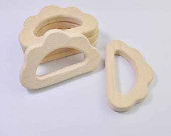 5pcs Natural Wood Teether,Cloud Pendant,High-Quality Untreated Wood Teething Toy/Pendant. DIY Supplies for Safe Teething Necklace.