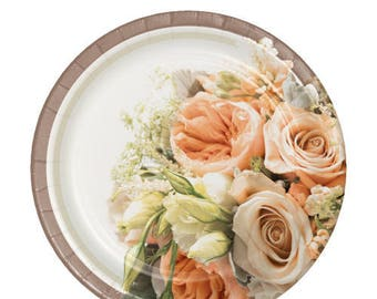 48 Ct Sturdy 7 Inch Disposable Dessert - Appetizer Plates - Rose Gold Trim Bouquet - Wedding Guest Tableware - Anniversary Party