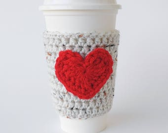 Coffee Cozy Oatmeal and Red Heart, Cup Sleeve
