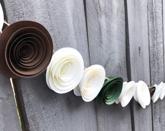 One Paper Flower Garland Brown - Moss Green & Cream - Wedding - Reception - Bridal Shower - Baby Shower - Ivory Paper Flower Streamer - Bunt