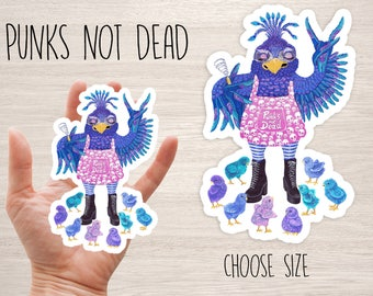 Punks not Dead cool vinyl stickers laptop iphone funky crazy bird chicken mother with chicks Punk skateboard decal original art