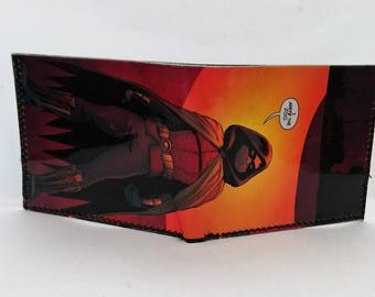 comic book wallet, slim wallet, hanmade wallet, card holder, thin wallet, vinyl wallet, mens wallet, robin 2