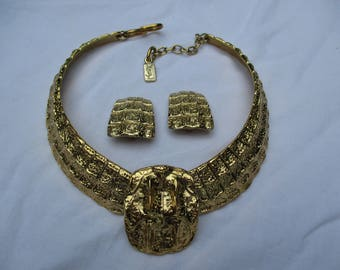 """YVES SAINT LAURENT Vintage Runway """" Crocodile """" Choker Necklace with Matching Earrings Clip designed by Robert Goossens"""