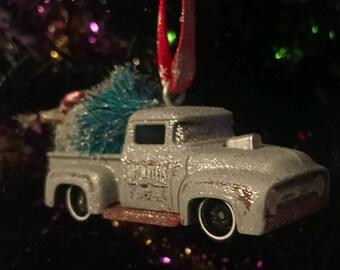 Hot Wheels / Matchbox car truck 56 Ford pickup hot rod Christmas handmade ornament