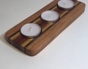 Handmade Naturally Colored One of a Kind Domestic and Exotic Hardwood Three Tea Light Candle Holder