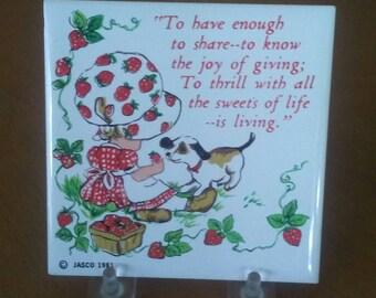 Strawberry Shortcake Trivet, Tea Trivet, Small Trivet, Ceramic Trivet, Small Wall Hanging, Collectible, Knick Knack, Vintage Trivet