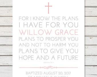 GIRL BAPTISM PRINTABLE, Personalized Baptism Gift, Girl Baptism Gift, Boy Baptism Gift, Baptism Scripture, Jeremiah 29:11, Christening Gift
