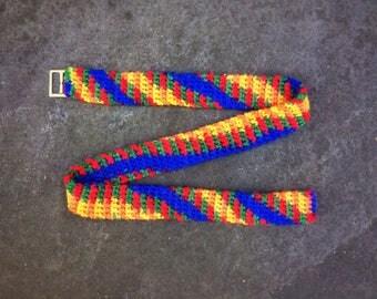 Crochet Rainbow Belt Unique Handmade  LGBT Pride belt with buckle, handmade unisex belt