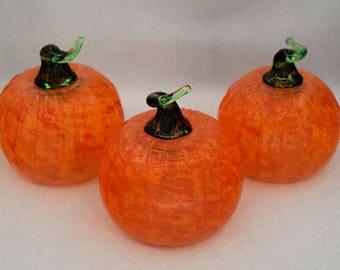 Small Glass Pumpkins Seasonal Thanksgiving Halloween Table Center Piece