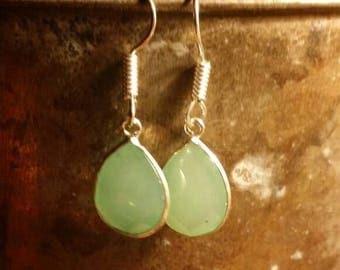 Holiday SALE 85 % OFF Prehnite  Earrings Gemstone  .925 Sterling Silver