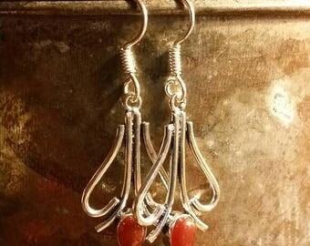 Holiday SALE 85 % OFF Carnelian  Earrings Gemstone  .925 Sterling  Silver