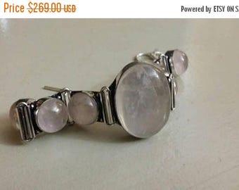 Holiday SALE 85 % OFF Rose Quartz  Bracelet Gemstone 925 Sterling Silver