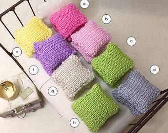 1 1/4 Inch Shabby Chic Hand knitted Miniature Dollhouse Throw Pillow Set - 1 1/4 Square - Pick A Color