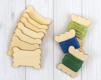 Wood Thread Bobbins, Floss Keeper, Embroidery Thread, Thread & Twine Organizer, Wood Spool Blank