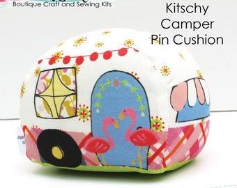 Pin Cushion Sewing Kit, Kitschy Camper, DIY Craft Kit, Sewing Room, Sewing Gift, Gift for Camper