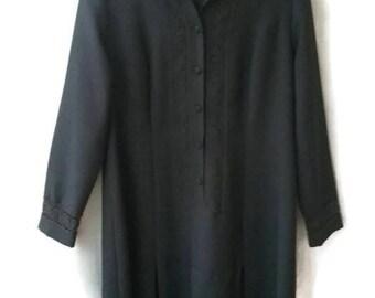 Vintage 70s DRESS black shift dress VINTAGE 1970s Dress black lace decor dress button up Size medium M 40