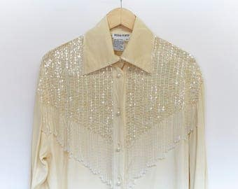 Silk and Sequin Western Blouse by Regina Porter - Size: S