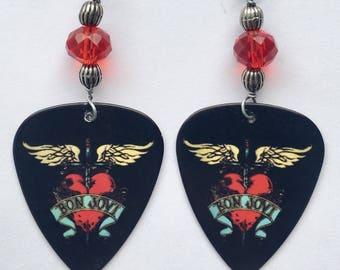 1 Pair- Bon Jovi Guitar Pick Earrings
