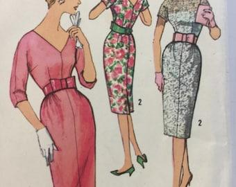 1950s, Simplicity 2956,  Dress, Sewing Pattern, One Piece Dress, Kimono sleeves, Slim Skirt, Front Gathers, Back Kick Pleat, V Neckline, Bow