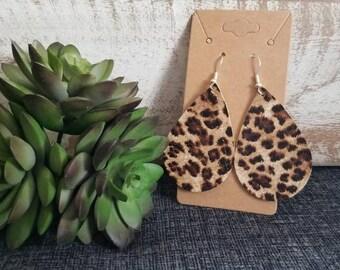 Leather Cheetah Teardrop Earrings