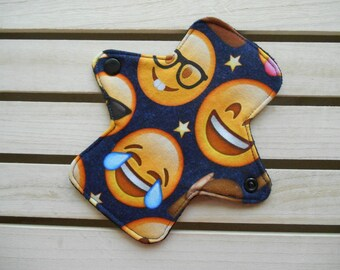 Emoji Laugh Panty Liner - Regular Fit Mini Cloth Panty Liner, Cloth Sanitary Pad, Washable Liner, Face Emojis, Fun Cloth Pad, Jersey Liner