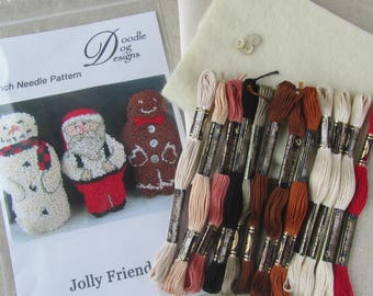 Punch Needle KIT ~ Christmas Santa ~ Snowman ~ Gingerbread Man ~ PunchNeedle pattern - Folk Art - complete needle punch kit - primitive